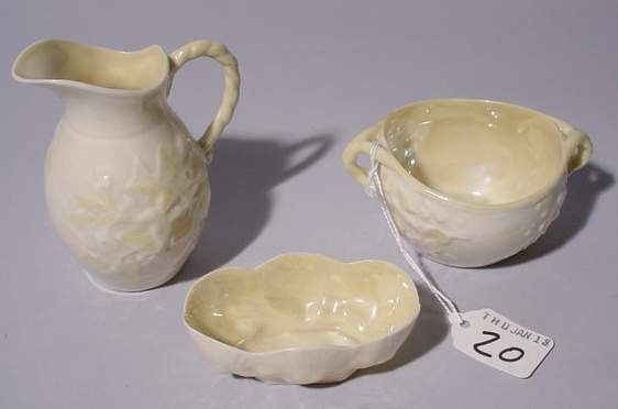 20: LOT OF TWO BELLEEK ITEMS, includes creamer, sugar b