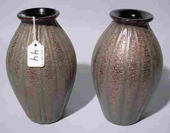 PAIR OF ITALIAN MURANO GLASS VASES, of baluster for