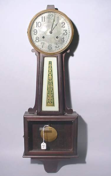 89: BANJO DESIGN WALL CLOCK, circa 1880, by New Haven C