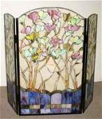 118: ART NOUVEAU STYLE THREE PANEL LEADED STAIN GLASS S