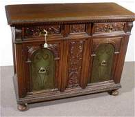 1207 CONTINENTAL STYLE CARVED WALNUT TWODOOR TWODRA