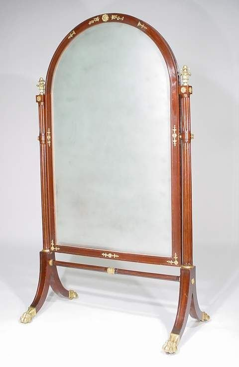1525: EMPIRE STYLE BRONZE  ROSEWOOD CHEVAL MIRROR