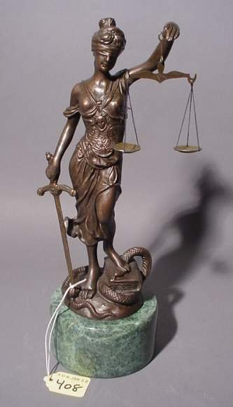1408: PATINATED BRONZE FIGURE OF THE SCALES OF JUSTICE,