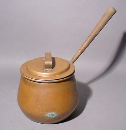 1414B: POLISHED COPPER COVERED SAUCE PAN, by Benham & F