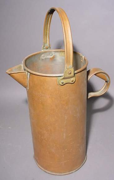 1414C: TALL POLISHED COPPER CYLINDRICAL PITCHER, early