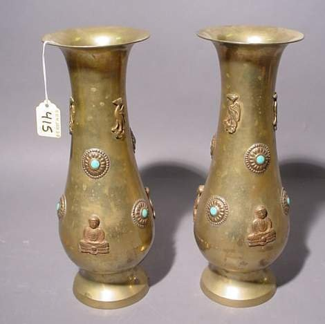 1415: PAIR OF ORIENTAL TURQUOISE MOUNTED POLISHED BRASS