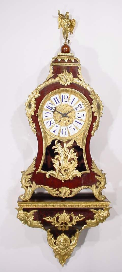 1685: LARGE LOUIS XV STYLE MAHOGANY CASED GILT BRONZE M
