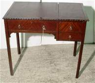 1452: SMALL GEORGE III STYLE CARVED MAHOGANY TWO-DRAWER