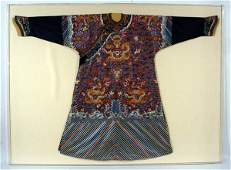 1699: GOOD LUCITE FRAMED CHINESE EMBROIDERED SILK DRAGO