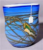 2037: VENETIAN BLUE ART GLASS VASE, flattened baluster