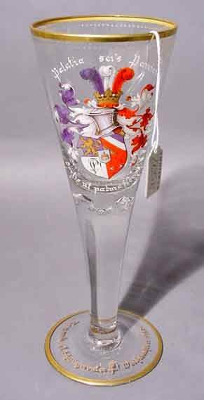 2058: LARGE HAND-BLOWN GERMAN ENAMEL DECORATED GLASS GO