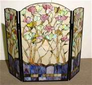 2320: ART NOUVEAU STYLE THREE PANEL LEADED AND STAINED