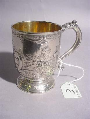 HEAVY CAST SILVERPLATED PEDESTAL CUP, having a gild