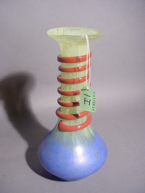 COLORFUL ITALIAN MURANO GLASS VASE, of ovoid form,
