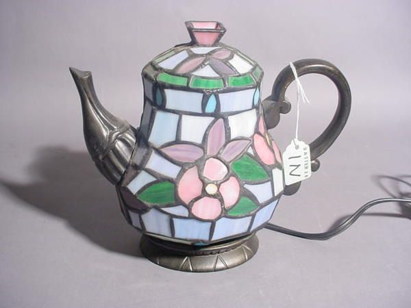 DECORATIVE STAINED AND LEADED GLASS ELECTRIFIED TEA