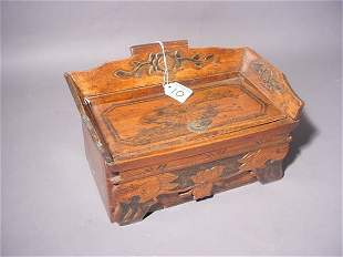 CHINESE CARVED BOXWOOD DOWRY BOX, having a lift top
