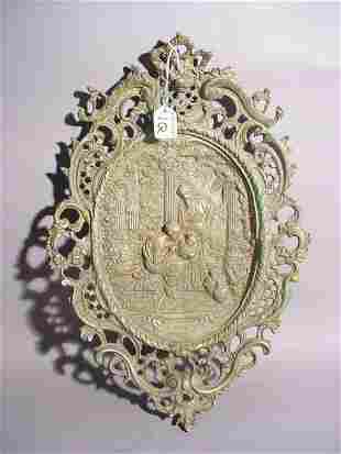 OVAL CAST BRONZE HIGH RELIEF WALL PLAQUE, with roco