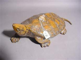 PAINTED BRONZE FIGURE OF A TURTLE, well detailed ca