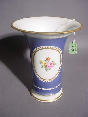NYMPHENBURG GILDED AND DECORATED TRUMPET FORM VASE;