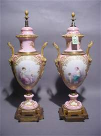 170: PAIR OF BRONZE MOUNTED SEVRES PORCELAIN TABLE LAMP