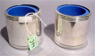 PAIR OF SILVERPLATED INSULATED CAN DRINK SLEEVES,