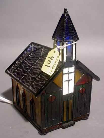 401: STAINED AND LEADED GLASS MUSIC BOX, in the form of