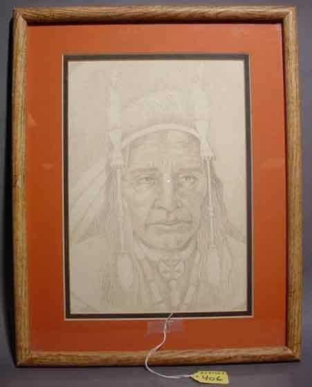 406: 20TH CENTURY AMERICAN SCHOOL, pencil drawing of a
