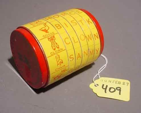 409: 'WHIRLATOY'' EDUCATIONAL SPELLING TOY, tin plate,