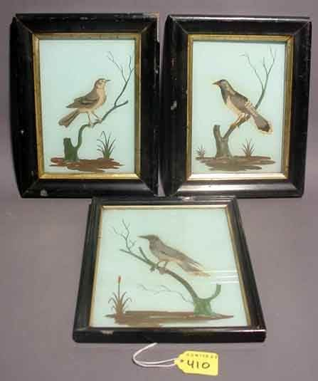 410: LOT OF THREE SMALL AMERICAN FRAMED REVERSE PAINTIN