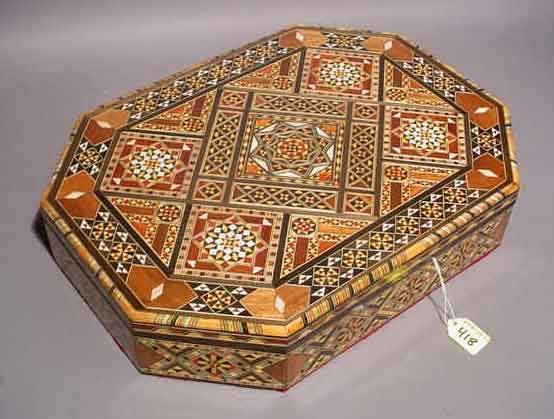 418: SMALL INTRICATELY INLAID MOROCCAN FOOTED JEWELRY C