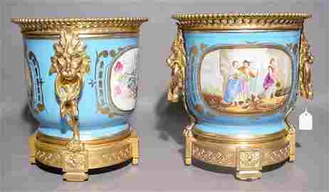 490: FINE PAIR OF DECORATED AND GILDED SEVRES PORCELAIN