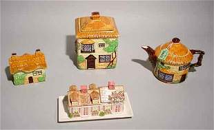 LOT OF FOUR ENGLISH DECORATED CERAMIC COTTAGE FI