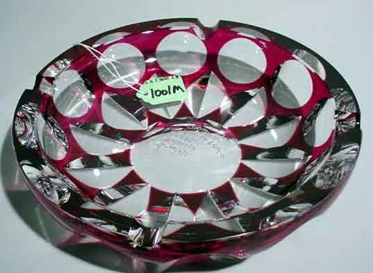 MURANO RUBY CUT-TO-CLEAR GLASS CIRCULAR SHALLOW