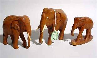 ASSEMBLED LOT OF THREE CARVED FIGURES OF ELEPHAN