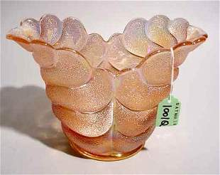 PINK IRIDESCENT GLASS VASE; 9 inch length; 5-1/2