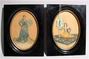 PAIR OF OVAL FRAMED SMALL WATERCOLORS, with ebon