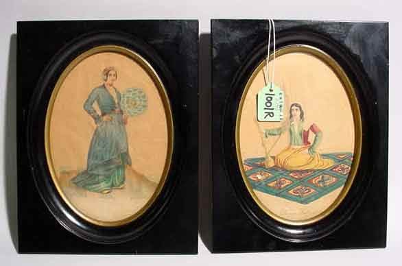 1001R: PAIR OF OVAL FRAMED SMALL WATERCOLORS, with ebon