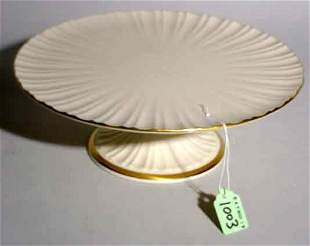 GILT DECORATED LENOX CAKE COMPOTE, of pedestal fo