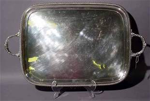 SILVERPLATED RECTANGULAR SERVING TRAY, with folia