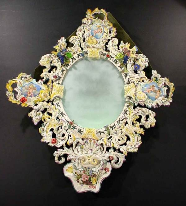1614: 19c LARGE CONTINENTAL MAJOLICA DECORATED MIRROR