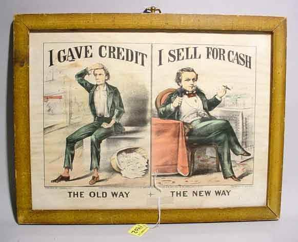 1402: AMUSING FRAMED CURRIER AND IVES COLORED PRINT, la