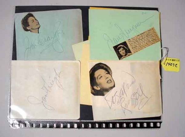 1407C: LOT OF AUTOGRAPHS OF FEMALE MOVIE STARS; include