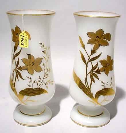 1408: PAIR OF DECORATED OPALINE PEDESTAL FORM VASES, ci