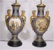 1498: FINE PAIR OF METTLACH STONEWARE FIGURAL LAMPS