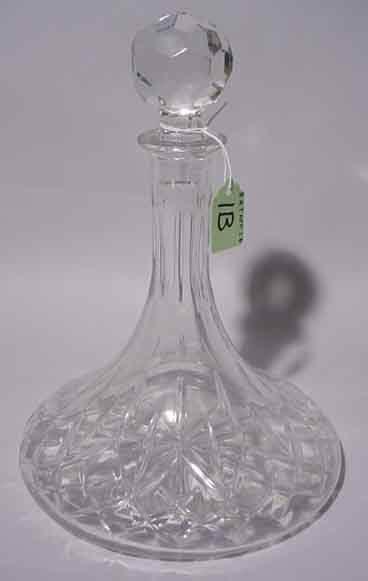 1B: MOULDED GLASS SHIP'S DECANTER, having a diamond pat