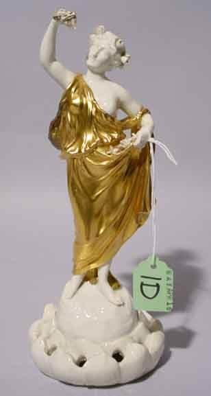 1D: DRESDEN FIGURAL FLOWER HOLDER, depicting a woman in