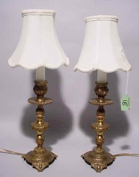 1E: PAIR OF BRASS BOUDOIR LAMPS, of columnar design, wi