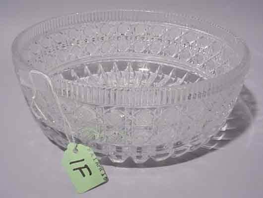 1F: CUT GLASS CIRCULAR BOWL, having a zipper edge with