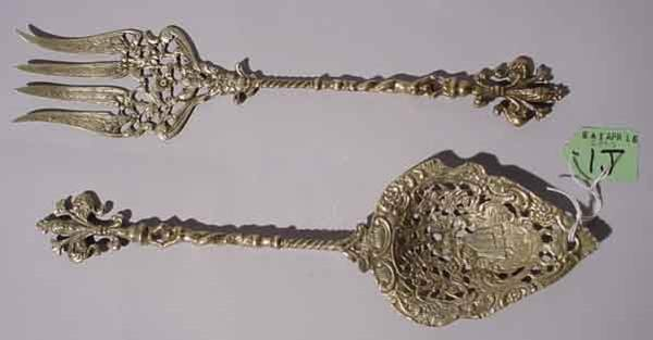 1J: SILVERPLATED PIERCED APOSTLE STYLE SPOON AND FORK S
