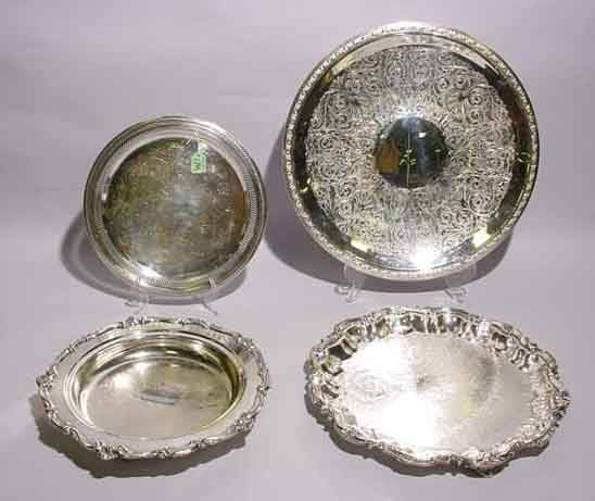 1M: LOT OF FOUR MISCELLANEOUS SILVERPLATED CIRCULAR SER